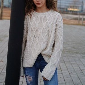 Crochet cream sweater